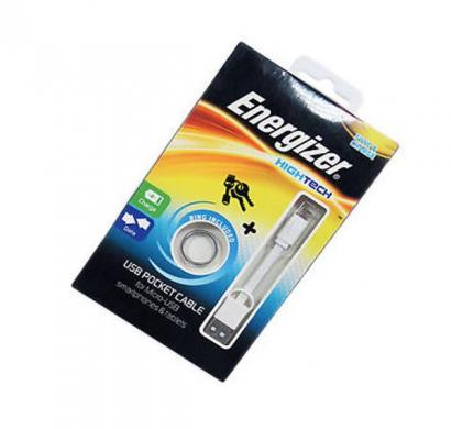 energizer pocket cable micro-usb charge + data - white