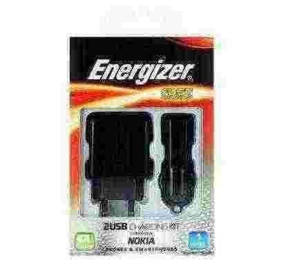 energizer classic 3 in1 charger 2 usb for nokia devices (eu plug) black