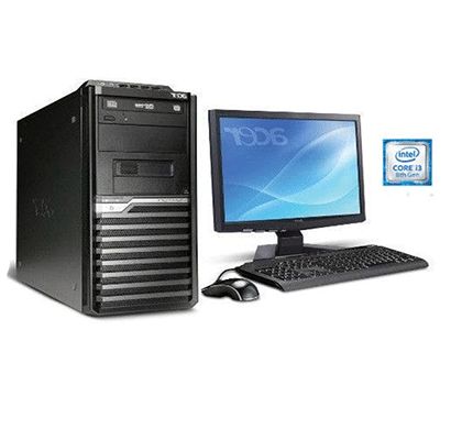 acer veriton m200 desktop (intel core-i3-8100 8th-gen/ 4gb ddr4/ 1tb hdd/ dos/ no odd/ 18.5 inch tft-monitor/3 years warranty