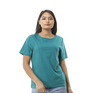 advik women's round neck plain top (blue)