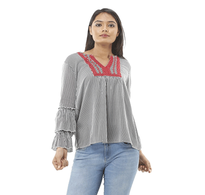 advik printed top for women (grey)