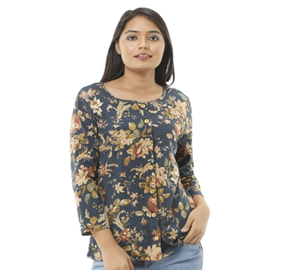 advik printed top for women's round neck (multicolor)