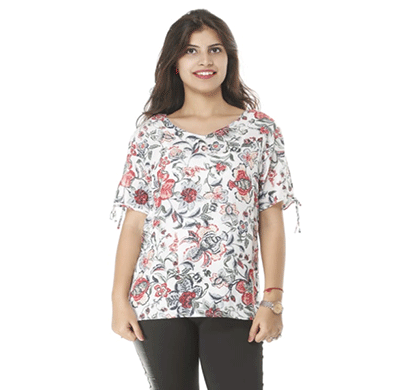 advik printed top for women white (multicolor)