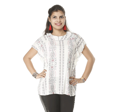 advik printed top for womens (white)