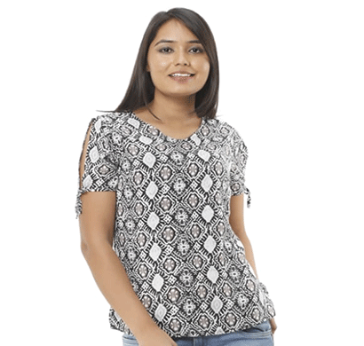 advik round neck fancy printed top white & black