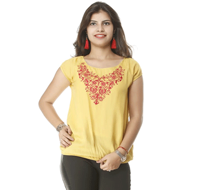 advik printed top for women (light yellow)