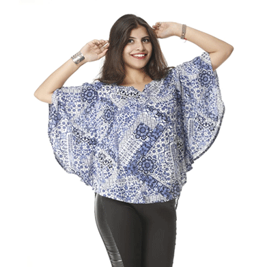 advik printed top for women's (white blue)