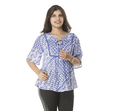 advik women's print long hand top (blue white)