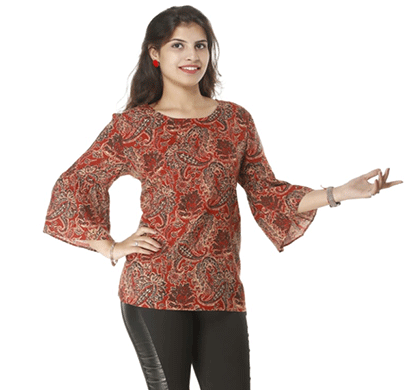 advik women's flower print long hand top (red multicolor)
