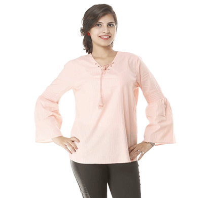 advik women's plain long hand top (pink)