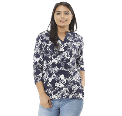 advik women's printed v neck top (blue)