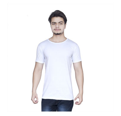 ALGRADE Men's Round Neck Half Sleeve T-Shirt White