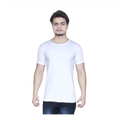 ALGRADE Men's Round Neck Half Sleeve T-Shirt White