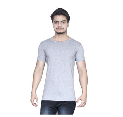 ALGRADE Men's Round Neck Half Sleeve T-Shirt Grey