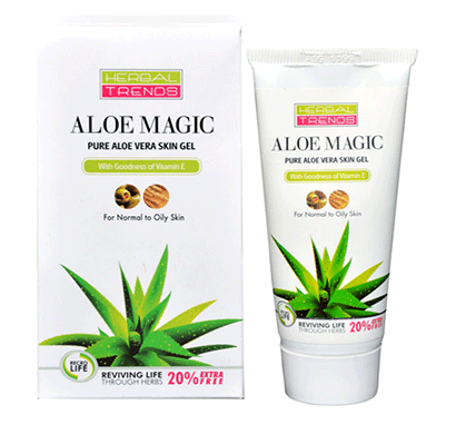 Aloe Magic -Pure Aloe Vera Skin Gel (with Almond Oil) - For Dry Skin -Herbal Trends