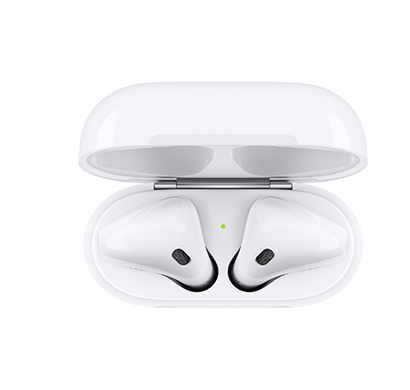 apple mv7n2hn/a airpods with charging case bluetooth headset with mic (white, in the ear)