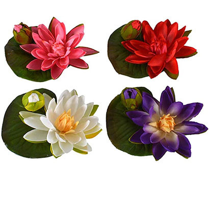 artificial flower lotus with bud, fabric, 14cm diameter, assorted colors