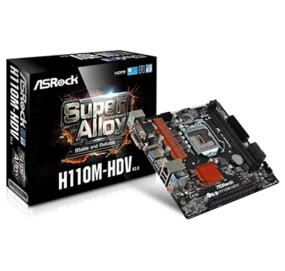 asrock h110m-hdv r3.0 7th gen bios updated motherboard (vga+dvi+hdmi port)