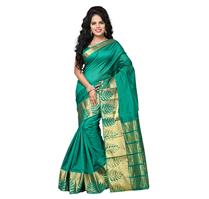 Dhyana Banarasi Style Woven Zari Work Cotton Silk For Women's Green