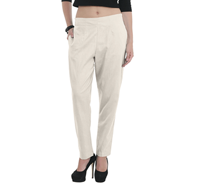 brover classy style power cotton linen blend trouser off white