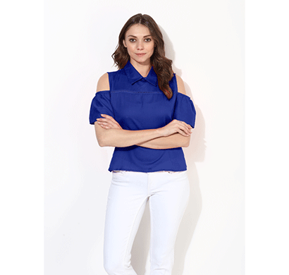 Brover Fashion Collar & Cold Shoulder Cotton Linen Top - Blue