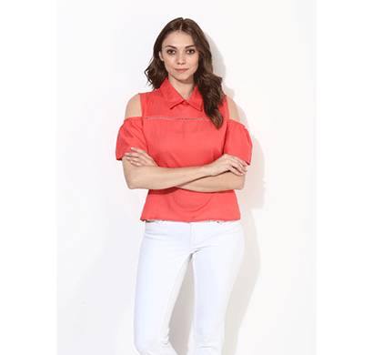 Brover Fashion Collar & Cold Shoulder Cotton Linen Top - Crimson