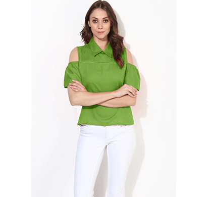 Brover Fashion Collar & Cold Shoulder Cotton Linen Top - Green