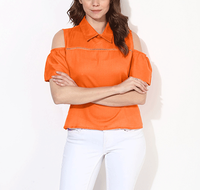 Brover Fashion Collar & Cold Shoulder Cotton Linen Top - Orange