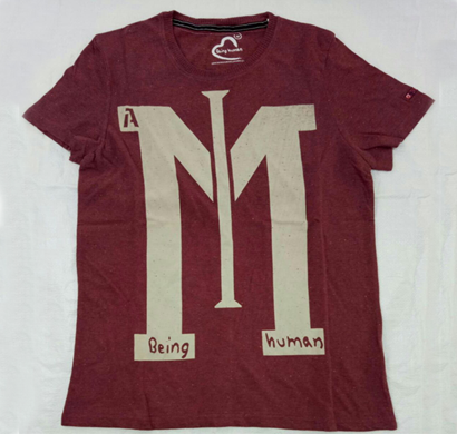 being human round neck t-shirts maroon