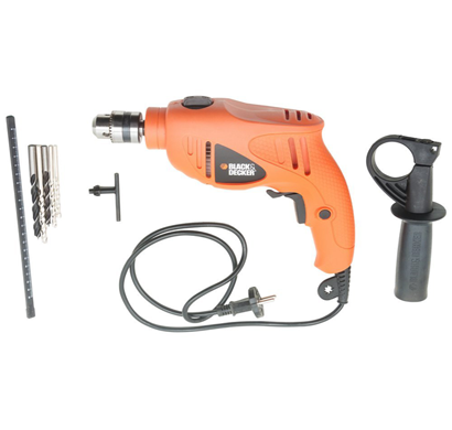 black and decker hd5010va5 550-watt variable speed hammer drill kit (orange)