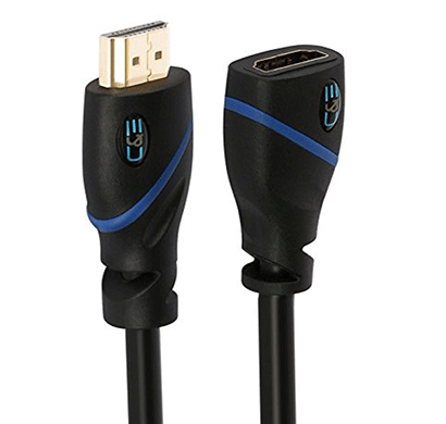 c&e high speed hdmi extension cable male to female, 1.5 feet, supports ethernet, 3d and audio return black