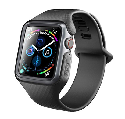 clayco (b07hcczwm3) apple watch 4 band 40mm 2018, (hera series) shock resistant ultra slim protective bumper case with strap bands for 40mm apple watch series 4 (black)
