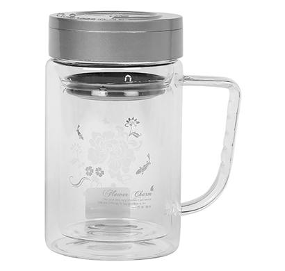 cosmosgalaxy (i3769) green tea glass mug with strainer and leak proof lid