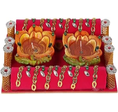 cosmosgalaxy i3276 handicraft thali terracotta table diya set, red and brown