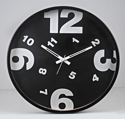 Cosmosgalaxy I2281 Round Designer Stainless Steel and Glass Black Micra Wall Clock