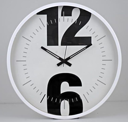 Cosmosgalaxy I2282 Round Designer Stainless Steel and Glass Black Rio Wall Clock