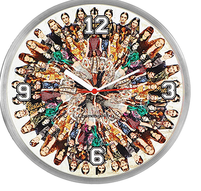 Cosmosgalaxy I2919 Round Stainless Steel and Plastic Multi-Color Printed Wall Clock