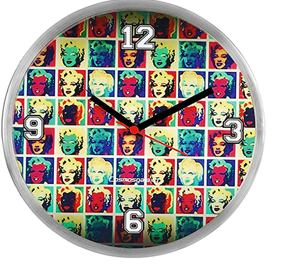 Cosmosgalaxy I2923 Round Stainless Steel and Plastic Multi-color Printed Wall Clock