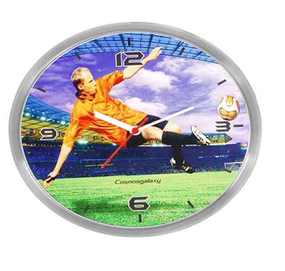 cosmosgalaxy i2956 round stainless steel and plastic green and blue sports printed wall clock