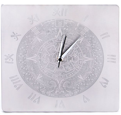 Cosmosgalaxy I0161 Aztec Stainless Steel Square Wall Clock ,Silver