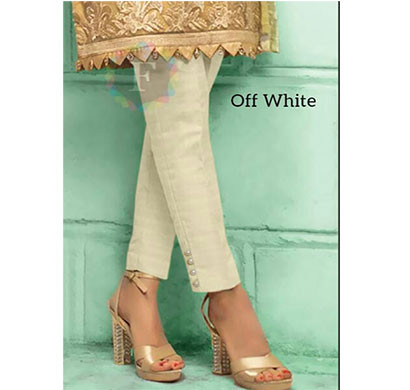 denim cotton silk pant with pearl beads for women off white