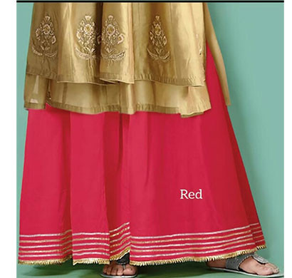 denim women cotton with silk look gota palazzo red
