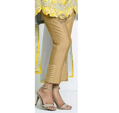 DENIM Women Cotton Pintex Pant With Pearl Finish Golden