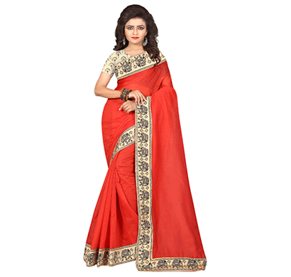 Dhyana Traditional South Indian Chanderi Cotton Saree Red