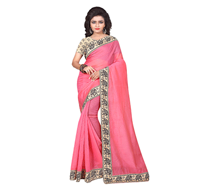 Dhyana Traditional South Indian Chanderi Cotton Saree Pink