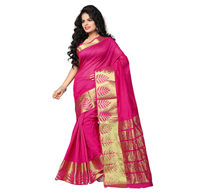 Dhyana Banarasi Style Woven Zari Work Cotton Silk For Women's Magenta