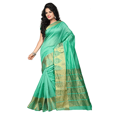 Dhyana Banarasi Style Woven Zari Work Cotton Silk For Women's cyan