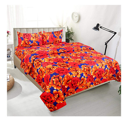 Dream Aura (B07YXSG16N) Victorian Summer Dream, 100% Polyester Double Bedsheet with 2 Pillow Covers, DA063 (Multi)