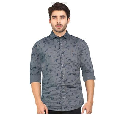 Duff 100% Cotton Printed Casual Men Shirts (Grey)