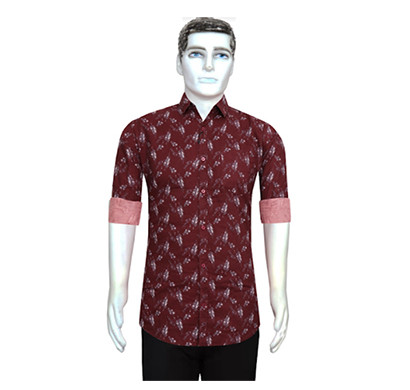 Duff Men Cotton Casual Shirt Printed ( Maroon)